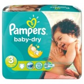 Pack 34 Couches de Pampers Baby Dry sur couches zone