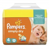 Pack 74 Couches Pampers Simply Dry sur couches poupon
