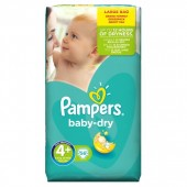 Couches Pampers Baby Dry taille 4+ - 56 couches