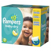 Giga Pack 280 Couches Pampers de Baby Dry sur couches zone