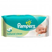 Pack 64 Lingettes Bébés Pampers Natural Clean sur 123couches