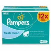 Pack économique 768 Lingettes Bébés Pampers Fresh Clean sur soscouches