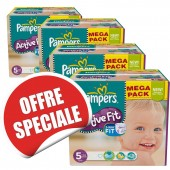 Maxi giga pack jumeaux de 736 Couches Pampers d'Active Fit sur soscouches