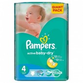 Couches Pampers Active Baby Dry taille 4 - 58 couches