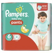 Couches Pampers Baby Dry Pants taille 6 - 21 couches