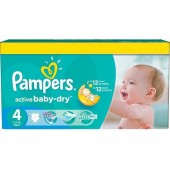 Couches Pampers Active Baby Dry taille 4 - 132 couches