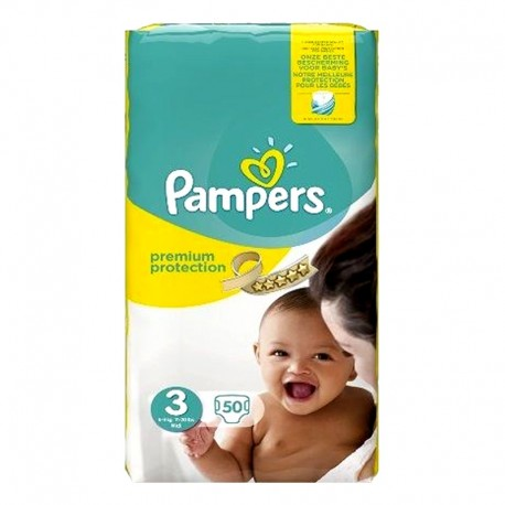 50 Couches Pampers Premium Protection - New Baby taille 3 de Starckman