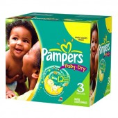 Pack 136 Couches de Pampers Baby Dry de taille 3 (Midi) (4-9 kg)
